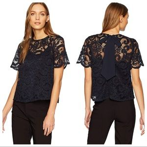 Nanette Lepore Navy Lace Neck Tie Scalloped Blouse